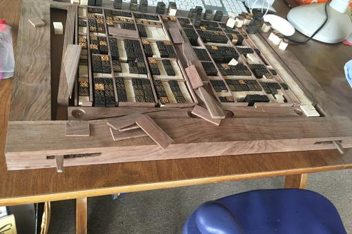 Photograph of the Chinese print block table under construction.